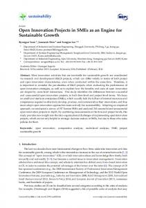 Open Innovation Projects in SMEs as an Engine for ... - MDPI