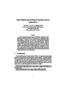 Open Mathematical Engine Interface and Its Application - Institute for
