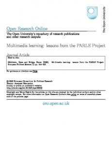 Open Research Online Multimedia learning: lessons ...