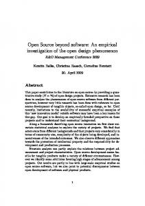 Open Source beyond software: An empirical investigation ... - CiteSeerX