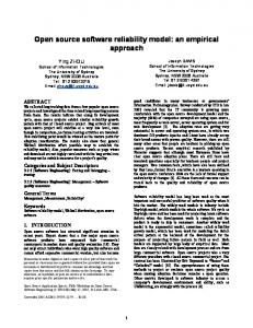 Open source software reliability model: an empirical approach