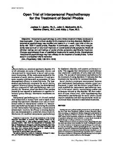 Open Trial of Interpersonal Psychotherapy for the Treatment of Social ...