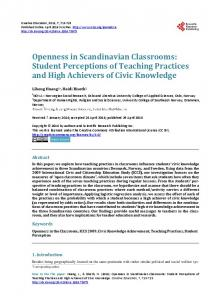 Openness in Scandinavian Classrooms - Scientific Research Publishing