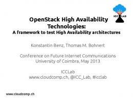 OpenStack High Availability Technologies: