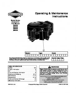 Operating & Maintenance Instructions