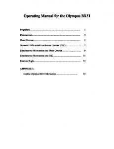 Operating Manual for the Olympus BX51