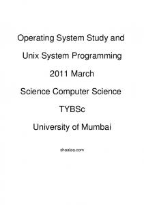 Operating System Study and Unix System Programming - 2011 ...