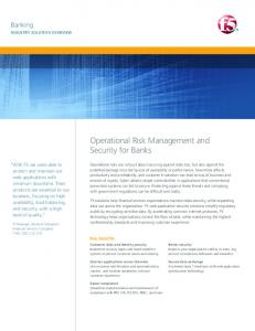 Operational Risk Management and Security for Banks ... - F5 Networks