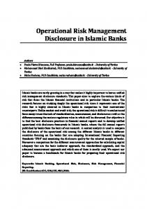 Operational Risk Management Disclosure in Islamic Banks - UniTo