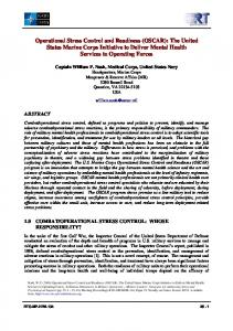 Operational Stress Control and Readiness (OSCAR): The United States