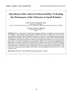 Operations in the context of urban mobility: Evaluating the ...