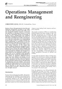 Operations Management and Reengineering