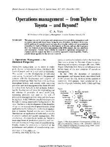 Operations Management- from Taylor to Toyota- and