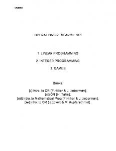 OPERATIONS RESEARCH: 343 1. LINEAR PROGRAMMING 2 ...