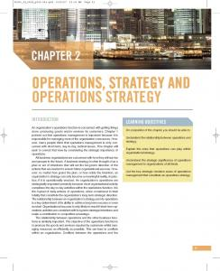 OPERATIONS, STRATEGY AND OPERATIONS STRATEGY