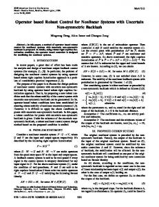 Operator Based Robust Control for Nonlinear Systems ... - IEEE Xplore