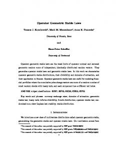 Operator Geometric Stable Laws - CiteSeerX