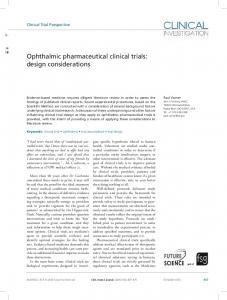 Ophthalmic pharmaceutical clinical trials - Open Access Journals