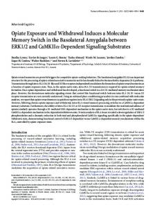 Opiate Exposure and Withdrawal Induces a ... - Journal of Neuroscience