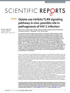 Opiate use inhibits TLR9 signaling pathway in vivo: possible ... - Nature