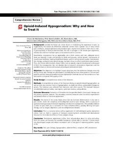 Opioid-Induced Hypogonadism - Pain Physician