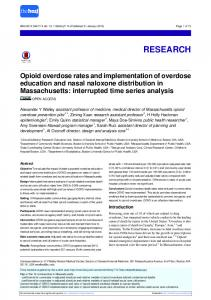 Opioid overdose rates and implementation of overdose ... - The BMJ