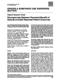 OPIOIDS & SUBSTANCE USE DISORDERS