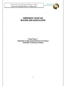 opponent note on water and sanitation