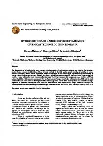 opportunities and barriers for development of biogas technologies in