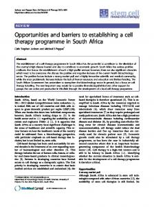 Opportunities and barriers to establishing a cell therapy programme in ...