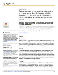Opportunities and barriers to implementing antibiotic ... - PLOS