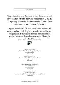 Opportunities and Barriers to Rural, Remote and First Nation Health ...