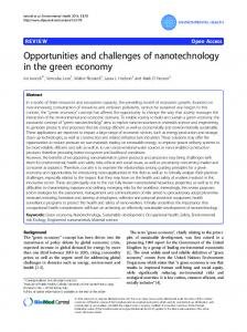 Opportunities and challenges of nanotechnology