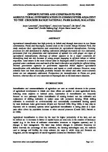 opportunities and constraints for agricultural intensification ... - CiteSeerX