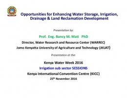 Opportunities for Enhancing Water Storage, Irrigation