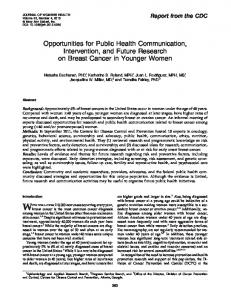 Opportunities for Public Health Communication, Intervention, and ...