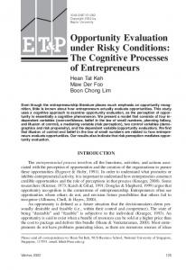 Opportunity evaluation under risky conditions: The ... - Maw Der Foo