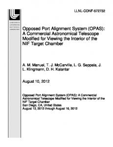Opposed Port Alignment System (OPAS): A ... - Site Index Page