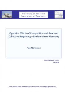 Opposite Effects of Competition and Rents on Collective Bargaining ...