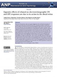 Opposite effects of ethanol on electroretinographic ON and OFF ...