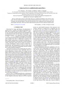 Optical activity in multihelicoidal optical fibers - Physical Review Link ...