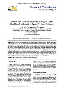 Optical and Electrical Properties of Copper Oxide Thin Films