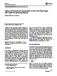 Optical and Structural Characteristics of NiO Thin