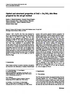 Optical and structural properties of ZnO + Zn2TiO4 thin ... - Springer Link