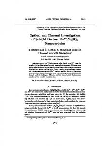 Optical and Thermal Investigation of Sol-Gel