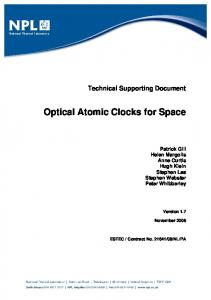 Optical Atomic Clocks for Space - National Physical Laboratory