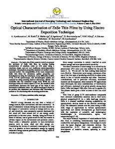 Optical Characterisation of ZnSe Thin Films by Using ... - CiteSeerX