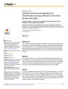Optical coherence tomography for identification and ... - PLOS