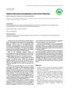 Optical coherence tomography in oral cancer detection - International