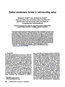 Optical condensers formed in wet-mounting setup - OSA Publishing